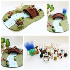 Whimsical Ways: Three Billy Goats Gruff with a Twist Waldorf Crafts, Waldorf Toys, Felt Play Mat, Play Mats, Toddler Activities, Activities For Kids, Crafts To Make, Crafts For Kids, Billy Goats Gruff