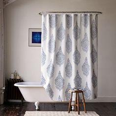 New Medallion Shower Curtain - modern - shower curtains - West Elm Modern Shower Curtains, Bathroom Shower Curtains, Fabric Shower Curtains, Navy Blue Shower Curtain, Bathtub Shower, Bath Tub, Bad Hacks, Curtain Designs, Curtain Ideas