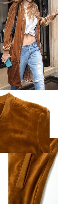 Brown Baseball Collar Velvet Longline Coat by Stayingsummer! Cute Fashion, Fashion Outfits, Warm Jackets, Weekend Wear, Denim Skinny Jeans, Winter Accessories, Fashion Addict, Style Ideas, Houston