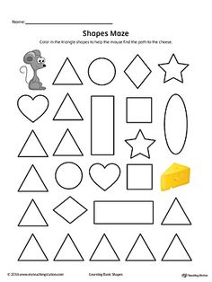 Shapes worksheets help children in kindergarten develop a strong foundation in geometry. They will practice recognizing and drawing basic shapes such as circle, triangle, square, rectangle and oval with our printable worksheets. Shapes Worksheet Kindergarten, Kindergarten Colors, Shapes Worksheets, Synonym Worksheet, Writing Worksheets, Triangle Worksheet, Printable Mazes, Free Printable, Goal Setting Worksheet