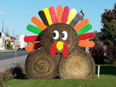 Turkey made from hay bales | Flickr - Photo Sharing!