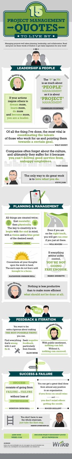 Quotes About Leadership : 15 Project Management Quotes to Live By (Infographic) - Hall Of Quotes Management Software, It Service Management, Program Management, Le Management, Change Management, Management Quotes, Business Management, Management Styles, Manager Quotes