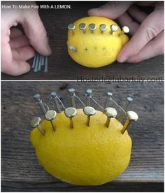 Camping Hack: How to Make Fire With Lemon: a perfect scientific experiment for kids to learn electro-chemical reactions and circuitry.