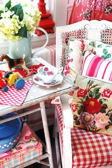 Get the Happy shabby look! White, red, and blue with roses, teapots, polka-dots -- can this get anymore fun?
