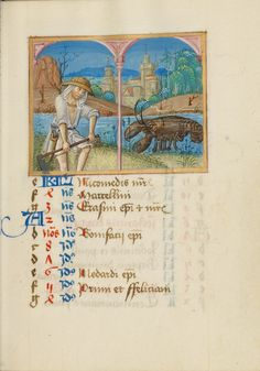 """June Calendar Page with Mowing and Zodiacal Sign of Cancer,"" Strasbourg, France, early 16th century. Tempera colors on parchment. J. Paul Getty Museum"