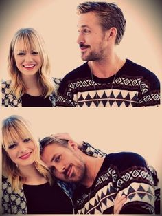 Ryan Gosling + Emma Stone ♡ Two hilarious, kind, and funny actors. Ryan is from 30 minutes from where I live, so he makes me proud to be Canadian! Someone this hot must have come from my country! Emma is beautiful and stylish, not to mention she has a contagious laugh and is extremely quirky and funny.