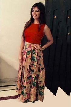 e0484009241 Banglori Satin Crop Top Lehenga Choli In Red And Peach Colour
