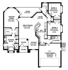 Floorplan 1 for House Plan Florida House Plans, Florida Home, Best House Plans, House Floor Plans, Build Your Dream Home, My Dream Home, Two Bedroom Floor Plan, Large Laundry Rooms, Price Plan