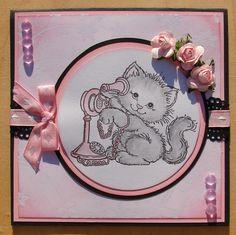 carte kirigami joyeux anniversaire chat rose blanc noir : Cartes par cdine08