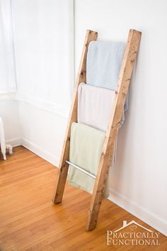 Find out how you can make your own #DIY blanket ladder using Elmer's ProBond Advanced. Functional storage and pretty decor all in one! #homedecor