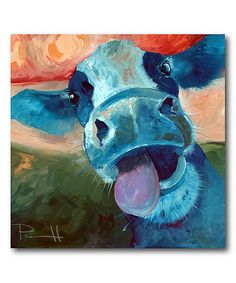 Look at this Lucy Cow Gallery-Wrapped Canvas on #zulily today!