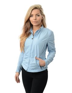 The ladies' Matchless Fulham Vent blouson in light blue with silver hardware has a two way zip fastening with funnel neck and zip details to the side seams. Fulham, Funnel Neck, Blue Accents, Off Duty, Light Blue, Lady, Casual, Clothing, Jackets