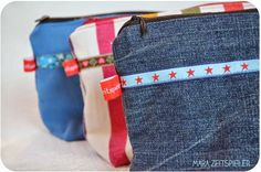 Kosmetiktaschen aus Stoffresten und Jeans / Zippered pouches made from scraps of fabric and jeans / Upcycling