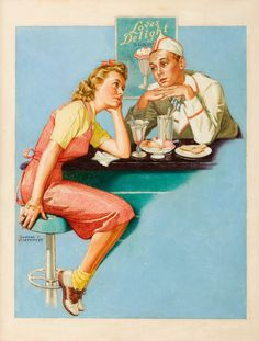 Shop Vintage Soda Fountain Romance Valentine Holiday Card created by RetroMagicShop. Personalize it with photos & text or purchase as is! Style Retro, Style Vintage, Vintage Love, Vintage Ads, Vintage Posters, Vintage Shops, Vintage Diner, Fifties Diner, Retro Images