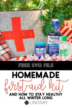 Make your own personalized first-aid kit with this FREE first aid SVG file. This medicine kit is easy to assemble with some of the most effective cold and flu medicine. Plus, find ways to save on Vicks at Walmart! Diy Valentine's Pillows, Cold And Flu Medicine, Make Your Own Pillow, Diy Blanket Ladder, Martha Stewart Crafts, Diy Headboards, Pillow Box, First Aid, Valentines Diy