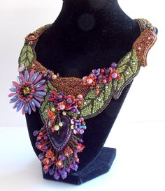 Free Shipping , Bead embroidery , Collar, Necklace, Statement Necklace, Seed bead jewelry,  Floral  jewelry,  Amethyst gemstone, Swarovski,