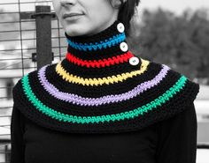 Neck warmer multicolored by MmeDefargeYarnworks on Etsy