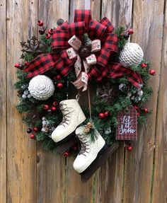 Rustic ice skates snowflakes and buffalo checkered bow Christmas wreath Christmas Door Wreaths, Christmas Wishes, Holiday Wreaths, Rustic Christmas, Christmas Art, Simple Christmas, Holiday Crafts, Christmas Decorations, Christmas Ornaments