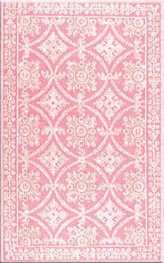 Romantic pink Lace Wool Rug by Layla Grayce