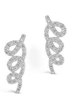 10K or Blanc Diamant Dangle Boucles d/'Oreilles Noir Et Blanc Diamond Twist Leverbacks
