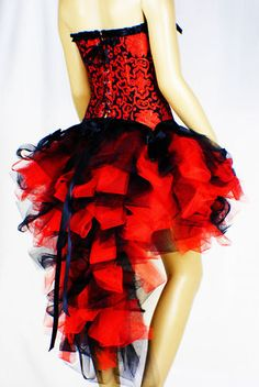 Tutu Skirt Burlesque Moulin Rouge Black Red Dress Up Party Ball S M L XL 6-16 | eBay