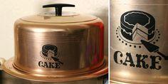 vintage cake carrier- copper
