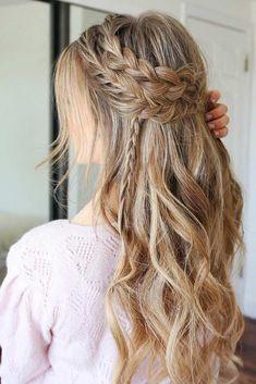 "A Boho Festive Look ❤️ A headband braid, also known as a crown or a halo bra. "" Boho Hairstyles, A Boho Festive Look ❤️ A headband braid, also known as a crown or a halo braid, is a cute half updo or updo hairstyle with a braid around a head. Prom Hairstyles For Long Hair, Romantic Hairstyles, Headband Hairstyles, Hairstyles Haircuts, Down Hairstyles, Braided Hairstyles, Wedding Hairstyles, Updo Hairstyle, Braid Headband"