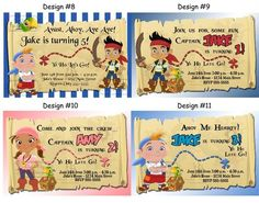 Jake and The Neverland Pirates Birthday Party Ticket Invitations Supplies Favors | eBay