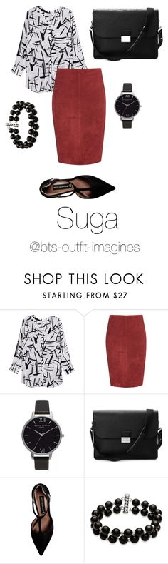 """Assistant look for Suga"" by bts-outfit-imagines ❤ liked on Polyvore featuring Melissa McCarthy Seven7, Jitrois, Olivia Burton, Aspinal of London, Steve Madden, Belk & Co. and plus size clothing"