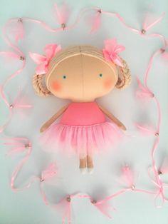 Birthday girl Ballerina doll Pink dress Rag doll Gift girl Tilda doll Toys for…