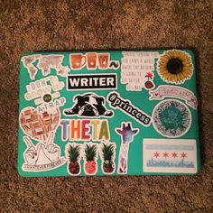 Only pinning for the writer sticker Mac Stickers, Preppy Stickers, Macbook Stickers, Love Stickers, Laptop Design, Macbook Case, Laptop Covers, Ipad, Hacks