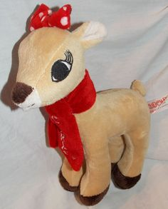 """2014 Rudolph 9"""" Plush Clarice Reindeer With Red Scarf by Dan Dee"""