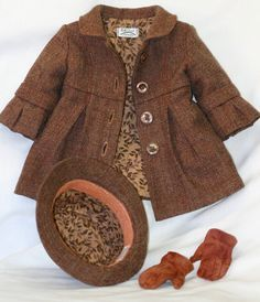 "Beautiful ensemble by Christine Smith: Bell-Sleeved coat, fedora and ""fingered"" gloves American Doll Clothes, Ag Doll Clothes, Doll Clothes Patterns, American Girl, Modern Fashion Outfits, Kids Fashion, Doll Costume, Little Girl Dresses, Girl Dolls"