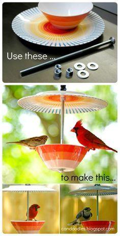 Haz un bebedero para pájaros  con un plato, un cuenco, un palo y 3 tornillos. // Upcycled bird feeder
