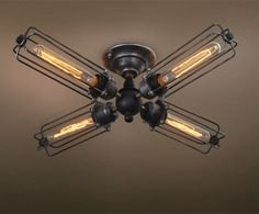 Westmenlights Livingroom Semi Flush Mount Ceiling Lighting 4 Lights Loft Industrial Ceiling Lamp CUREL