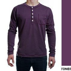 Men's merino wool button jersey