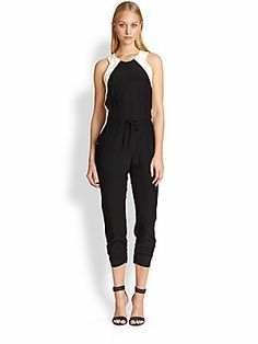 Parker Kaysha Silk Two-Tone Cropped Jumpsuit