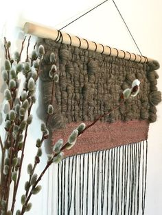 Ready to ship. Large woven wall hanging wool and by Rowanstudios