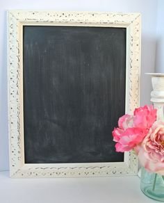 Shabby Chic Antique Style Ivory painted Distressed Framed Chalkboard Kitchen Chalkboard Memo Board Wedding Chalkboard  16x12 by chicshabbyandunique on Etsy https://www.etsy.com/listing/197190112/shabby-chic-antique-style-ivory-painted