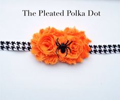 Halloween HeadbandTwo Orange Shabby Flowers by ThePleatedPolkaDot, $8.00