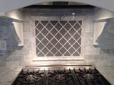 Grey Moroccan lattice backsplash accent behind range. Carrera Bianco subway…but in blue tones Cost Of Kitchen Countertops, Granite Kitchen, Kitchen Backsplash, Diy Kitchen, Kitchen Ideas, Backsplash Ideas, Kitchen Inspiration, Kitchen Decor, Granite Countertops