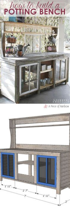 Free plans to build a gorgeous reclaimed window and reclaimed wood Potting Bench! - A Piece Of Rainbow
