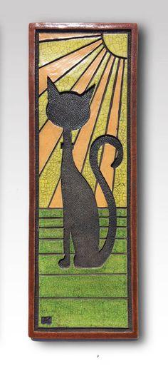 Cat Wall Tile I by eddiekentCERAMICS on Etsy