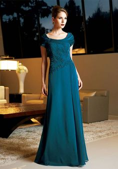 A-Line Scoop Floor Length Chiffon Beading/ Lace
