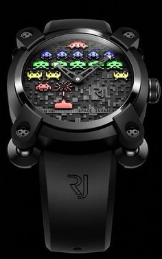 Space Invaders the most Sophisticated Way – The Romain Jerome Watch This limited series embraces two editions, a colorful version and a Super-LumiNova coated night view version. The Space Invaders battlefield is compiled of three layers of p. Romain Jerome, Space Invaders, Unusual Watches, Cool Watches, Watches For Men, Wrist Watches, Trendy Watches, Gadgets, Game & Watch