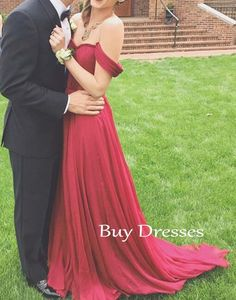 A-line Sweetheart Chiffon Off Shoulder Red Prom Dress, Evening Dresses,red dress #prom #promdress #dress #red #formal #prom2k16