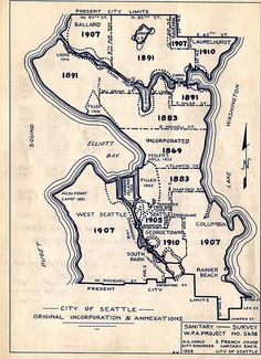 Early annexations to Seattle by Seattle Municipal Archives, via Flickr Seattle Map, Seattle Neighborhoods, West Seattle, Seattle Washington, Washington State, City Limits, Emerald City, City Maps, Cartography