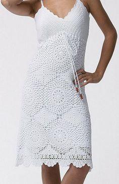 Vestido de crochê, Branco