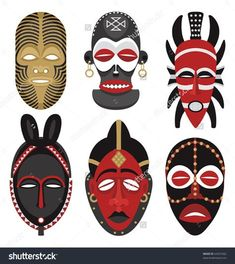 Six African masks.