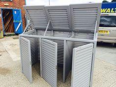 Bin Stores - Alan Hayward Joinery Ltd Bin Storage Ideas Wheelie, Storage Bins, Hide Trash Cans, Trash Bins, Bin Store Garden, Bin Shed, Garbage Storage, Recycling Storage, Back Garden Design